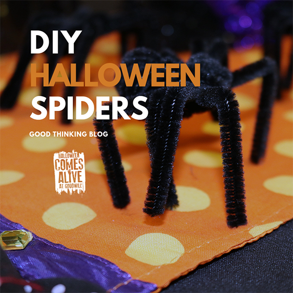 Illustration showing DIY Halloween Spiders on the Good Thinking Blog