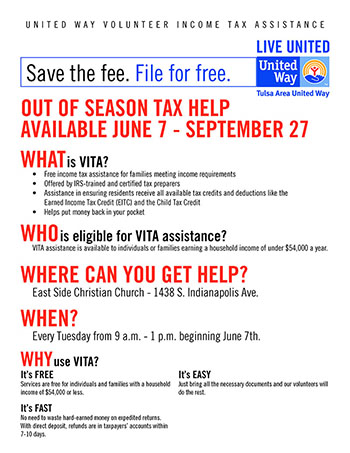 VITA Out of Season tax help available
